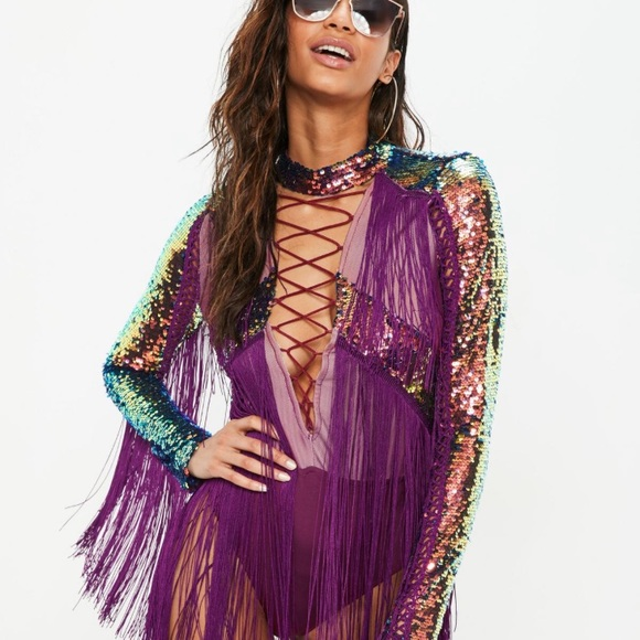 a594487202 Purple Fringe and Sequin Bodysuit